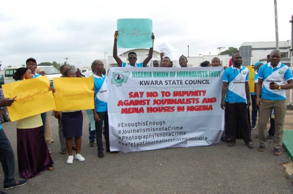 Protesting members of the Nigeria Union of Journalists (NUJ), kwara State Council